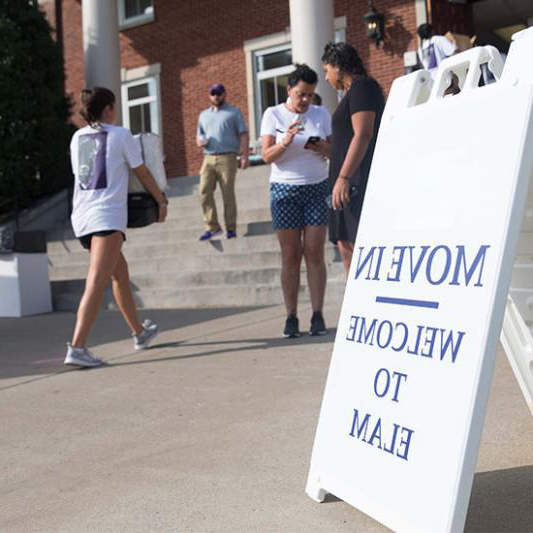 Students move in to Elam Hall.