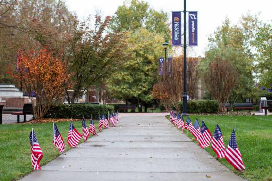 flags lining a sidewalk at Lipscomb